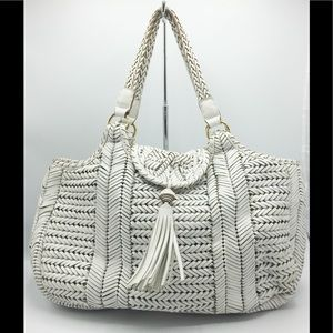 Anya Hindmarch White Leather Woven Shoulder Bag